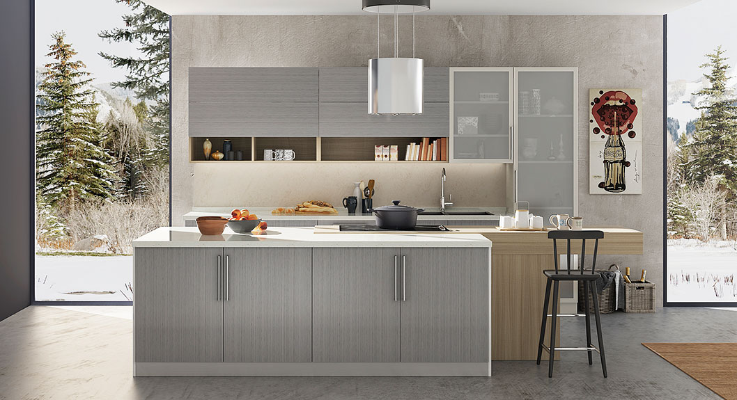 360cm Width Standard Kitchen Cabinet with Gray Laminate ...